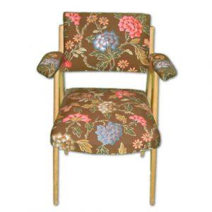 Chaise En Bois Style 50 Tissu Vintage