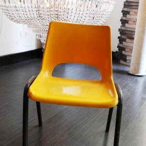Chaise D'Ecole Vintage Orange/Marron