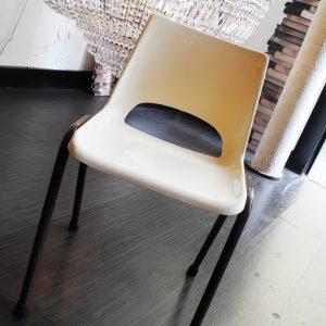 Chaise D'Ecole Vintage Blanche/Marron