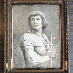Gravure-Reproduction Vintage De Jeanne D'Arc Encadrée