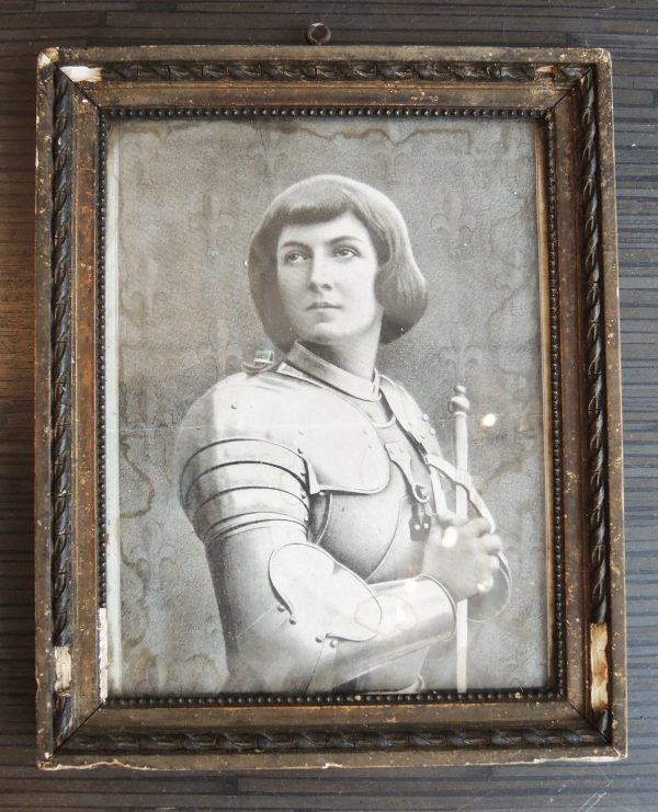ancienne-gravure-reproduction-de-jeanne-darc-encadree