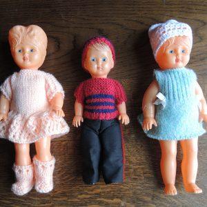 3 Poupées En Plastique Dur '70 Vintage