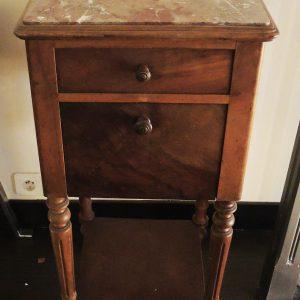 Table De Chevet Vintage En Bois Et Marbre
