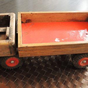 Jouet Vintage : Camion Benne En Bois Et Plastique