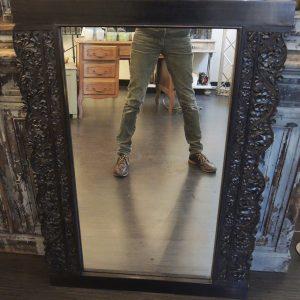 Grand Miroir VIntage En Bois Foncé Sculpté