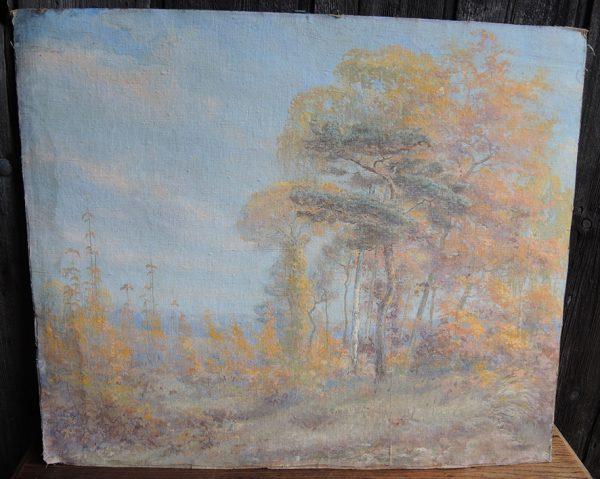 ancienne-huile-sur-carton-paysage-forestier