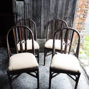 4 Chaises En Bambou/Rotin Vintage