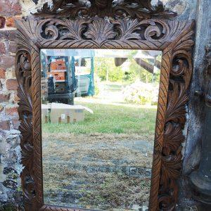 Grand Miroir Vintage En Bois Sculpté Lions