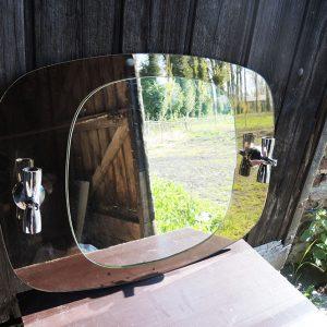 Miroir-Applique Vintage Marron Glacé Années 70
