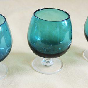 3 Verres À Cognac Vintage Bleu Turquoise
