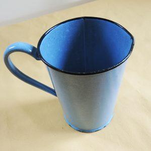 Carafe Pichet Broc Vintage En Email Bleu