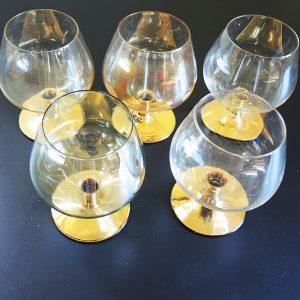 5 Verres À Cognac Vintage Au Pied Doré