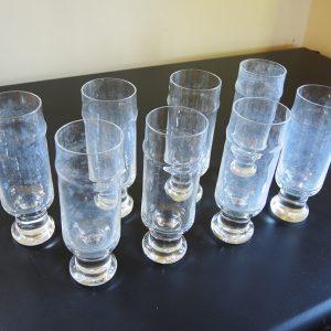 8 Flutes À Champagne Vintage En Cristal