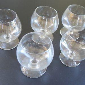 Lot De 5 Verres À Cognac Vintage Transparent