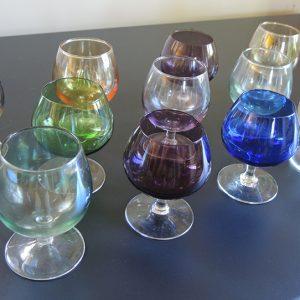 Lot De 12 Verres À Cognac Vintage Multicolore
