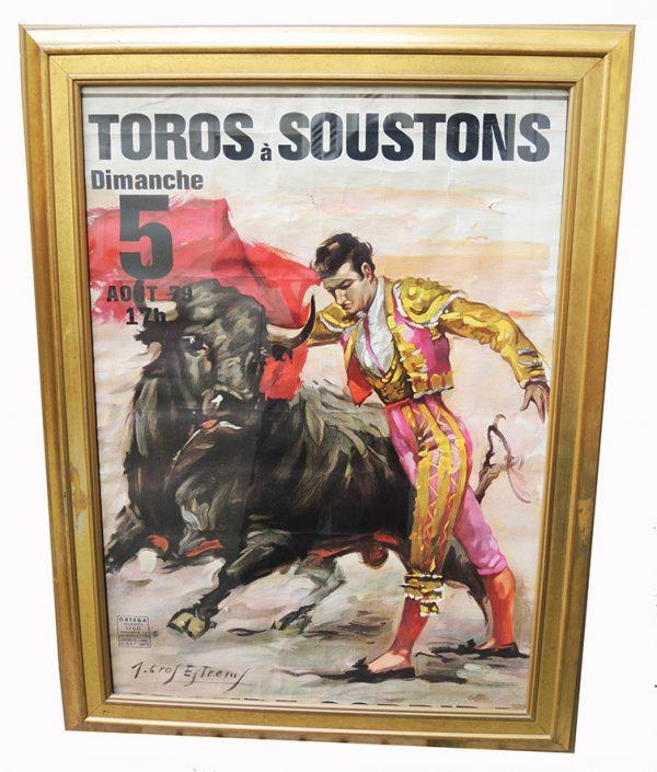 ancienne-affiche-litho-encadree-de-corrida-signe