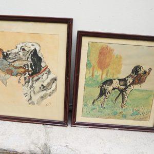 2 Aquarelles Vintage Encadrées Signées