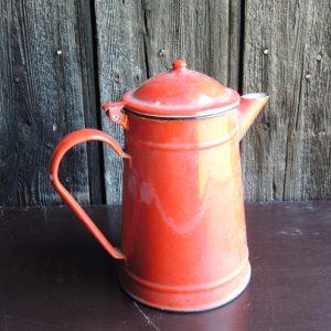 Cafetière Vintage En Email Rouge