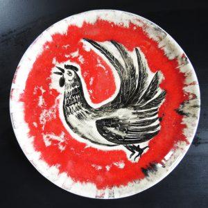 Assiette Vintage Céramique Signée AR Roux