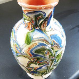 Vase En Terre À Décor Marbré Emaillé Vintage