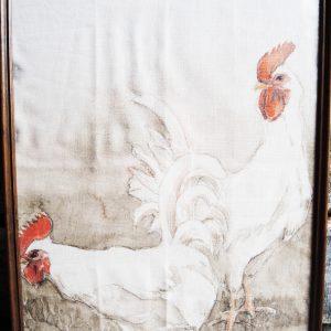 Tableau Vintage Sur Lin : 2 Coqs Blancs