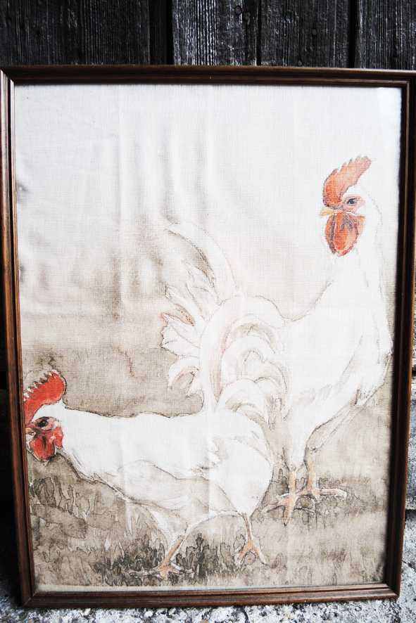 tableau-ancien-sur-lin-2-coqs-blancs