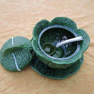Soupière Chou Vintage En Céramique Plat Et Louche