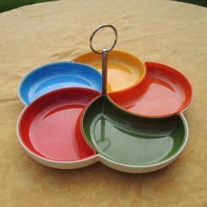 Plateau Apéritif Vintage En Plastique Multicolore Années 70