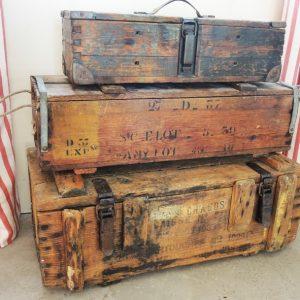 3 Boites À Munitions En Bois Vintage