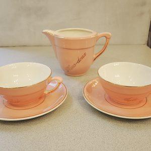 Service Petit Déjeuner Vintage En Céramique Rose