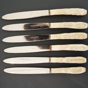 6 Couteaux À Diner Vintage Inox Et Bakelite
