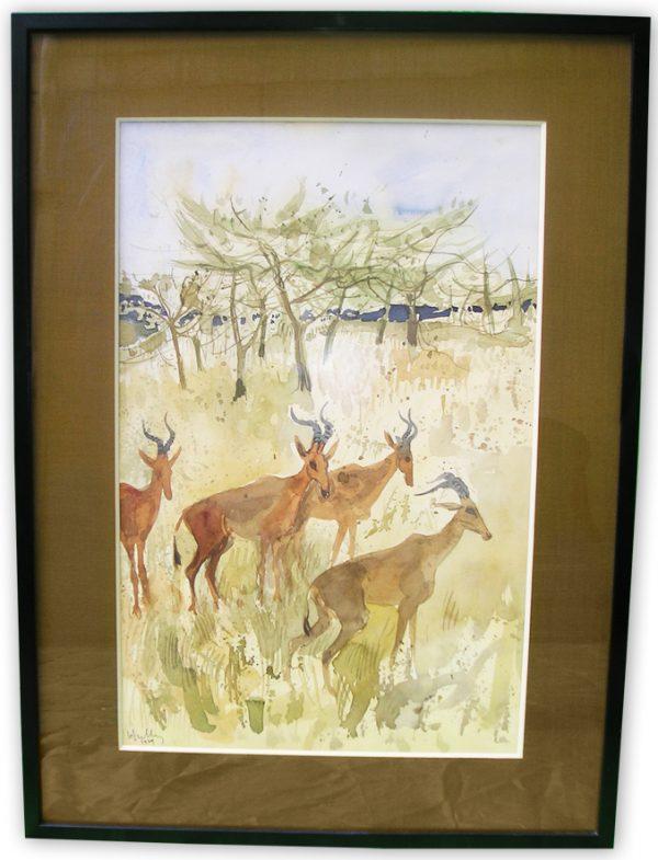 ancien-tableau-aquarelle-4-gazelles