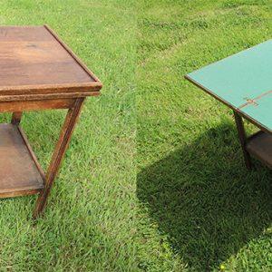 Table De Jeu Vintage En Chene / Plateau Feutre