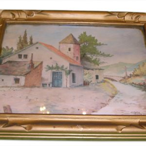 Tableau Vintage Aquarelle VILLAGE FRANCAIS 1