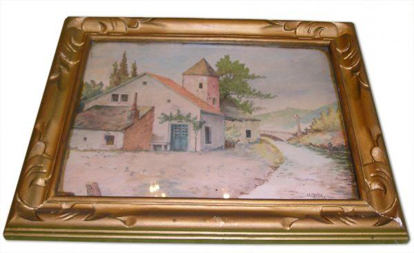 ancien-tableau-aquarelle-village-francais