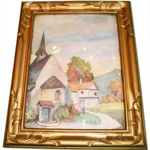 Tableau Vintage Aquarelle VILLAGE FRANCAIS