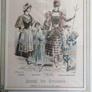 Estampe Polychrome Vintage : Le Journal Des Demoiselles