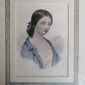 Estampe Polychrome Vintage : Portrait De Femme
