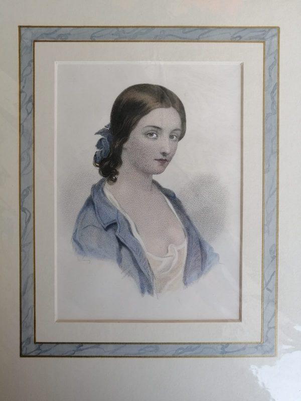 ancienne-estampe-polychrome-portrait-de-femme
