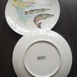 10 Assiettes À Poisson Vintage En Porcelaine Philippe Deshoulières