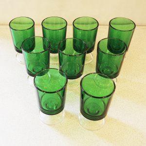 Lot De 9 Verres À Digestif Vintage Vert Luminarc