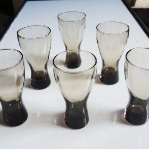 8 Verres À Soda Vintage En Verre Fumé 70s