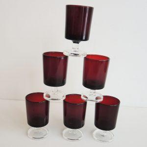 Lot De 6 Verres À Digestif Vintage Rouge Luminarc