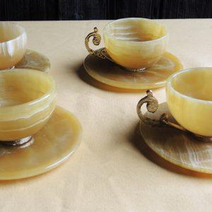4 Tasses À Café Vintage En Onyx