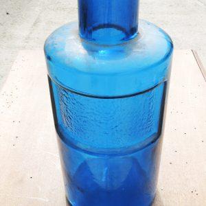 Flacon D'Apothicaire Vintage En Verre Bleu