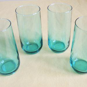 4 Verres Droit Vintage Turquoise