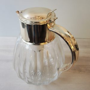Carafe À Eau Vintage En Cristal/Métal Argenté