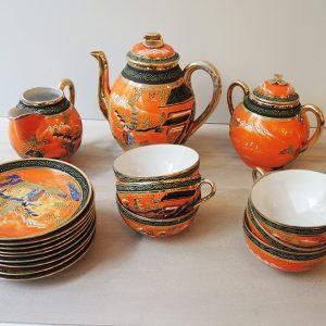 Service De Thé Asiatique Vintage En Porcelaine