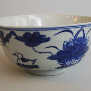Bol Chinois Vintage En Porcelaine Bleu & Blanc