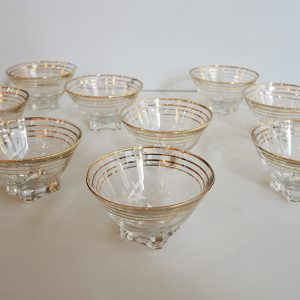 12 Coupes Vintage En Verre Transparent Or